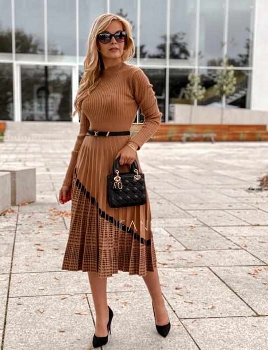 Sukienka Kaja dzianinowa karmelowa