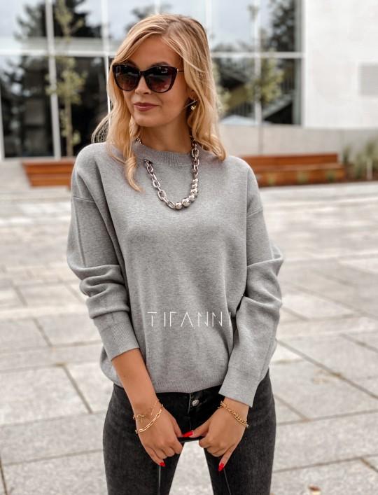 Bluzka sweter z łańcuszkiem Marco szara