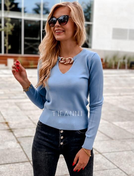 Bluzka z łańcuchem na dekolcie Brandi blue