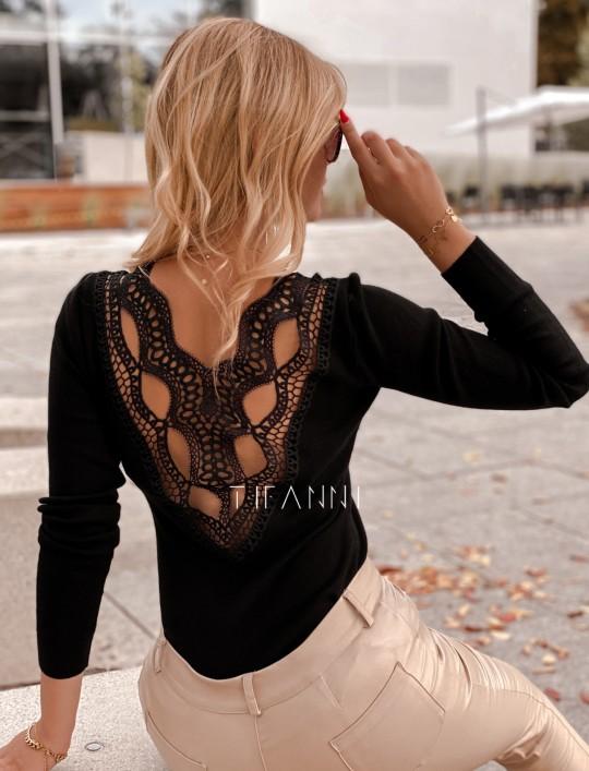 Bluzka Melis z ażurowym wzorem na plecach czarna