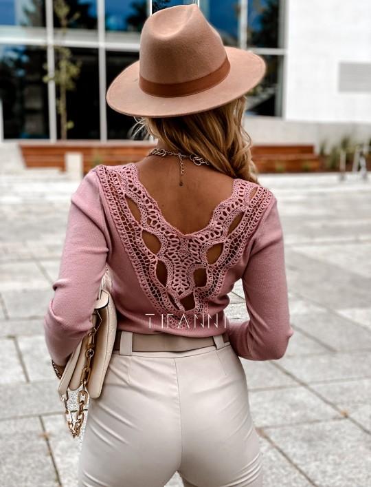 Bluzka Melis z ażurowym wzorem na plecach pudrowa
