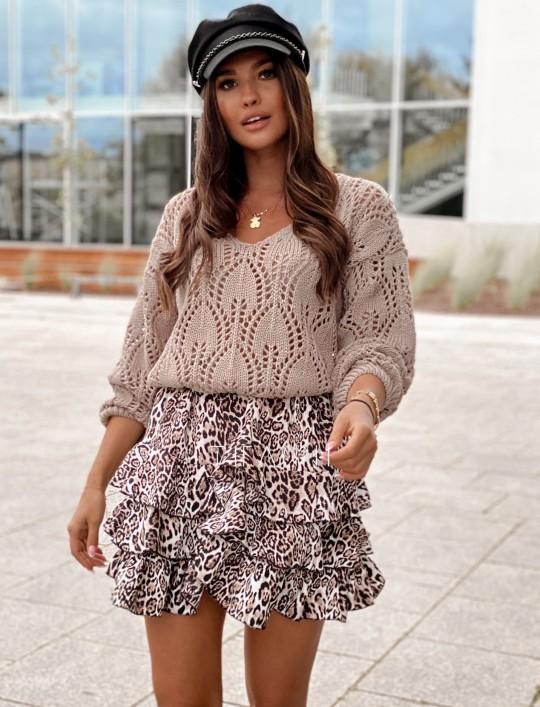 Sweter ażurowy Savi beżowy