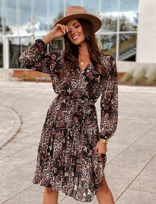 Zwiewna plisowana sukienka Karen panther
