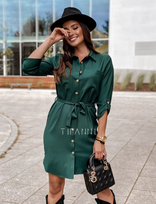 Koszulowa sukienka Paris butelkowa