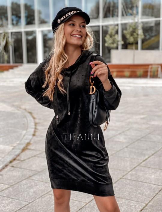 Welurowa sukienka Karmain czarna