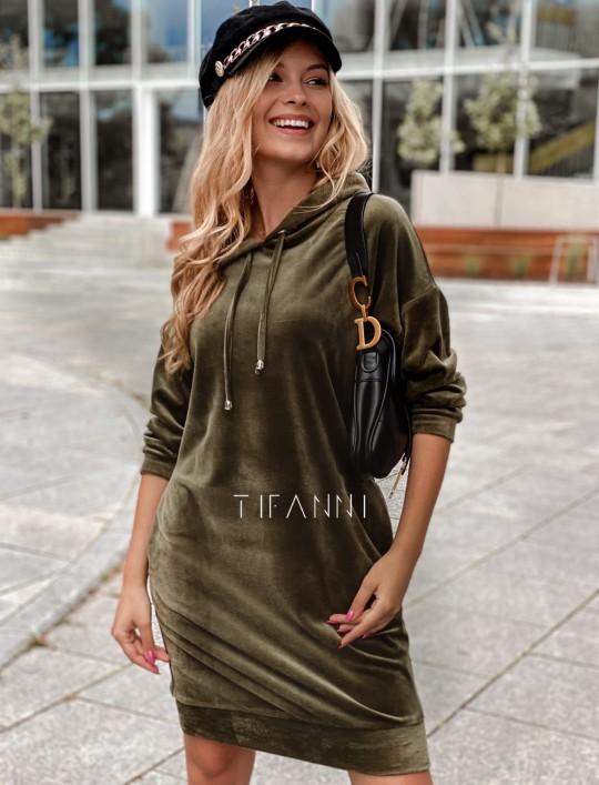 Welurowa sukienka butelkowa zieleń