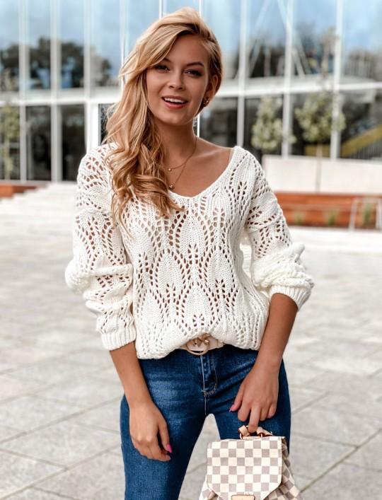 Sweter ażurowy Savi śmietankowy