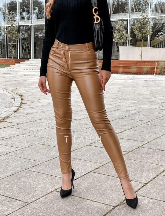 Spodnie woskowane Buttons DARK GOLD