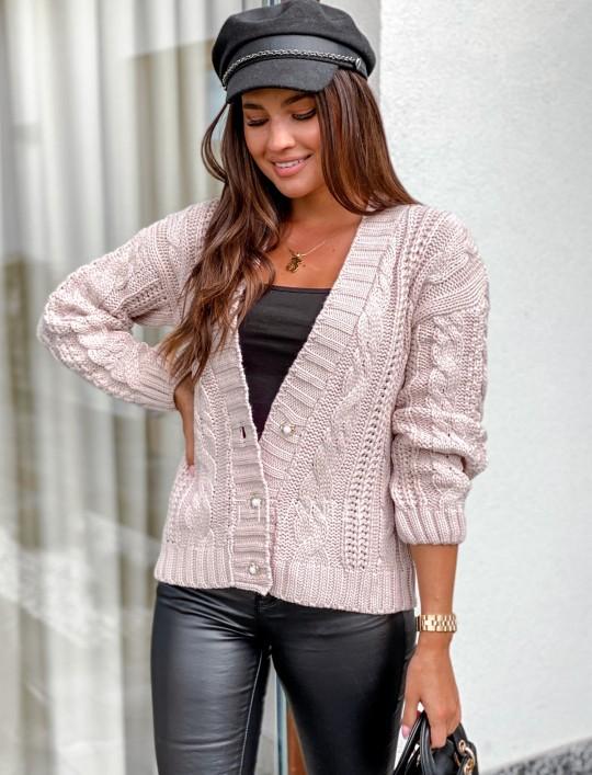 Rozpinany sweter Benita beżowy