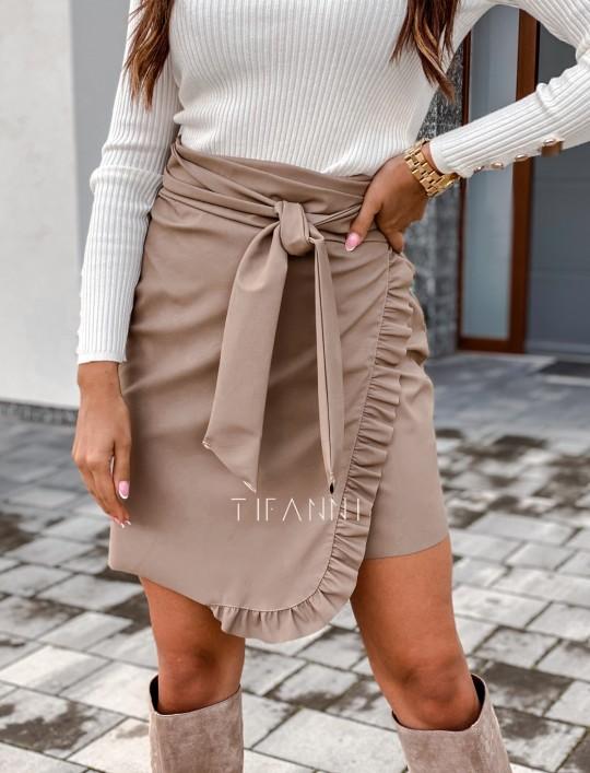 Skajkowa wiązana spódnica Clivi beżowa