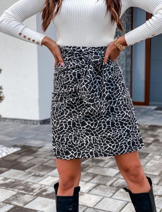Spódnica wiązana Zalia czarno biała