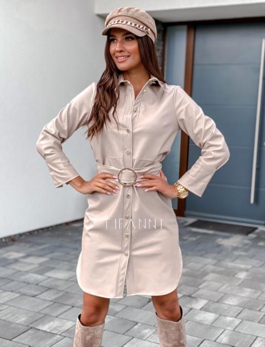 Sukienka skajkowa Fabia beżowa