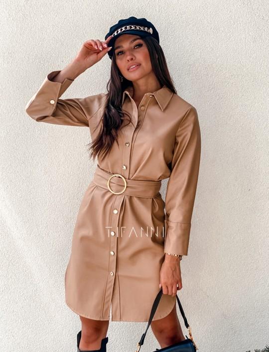Sukienka skajkowa Fabia karmelowa