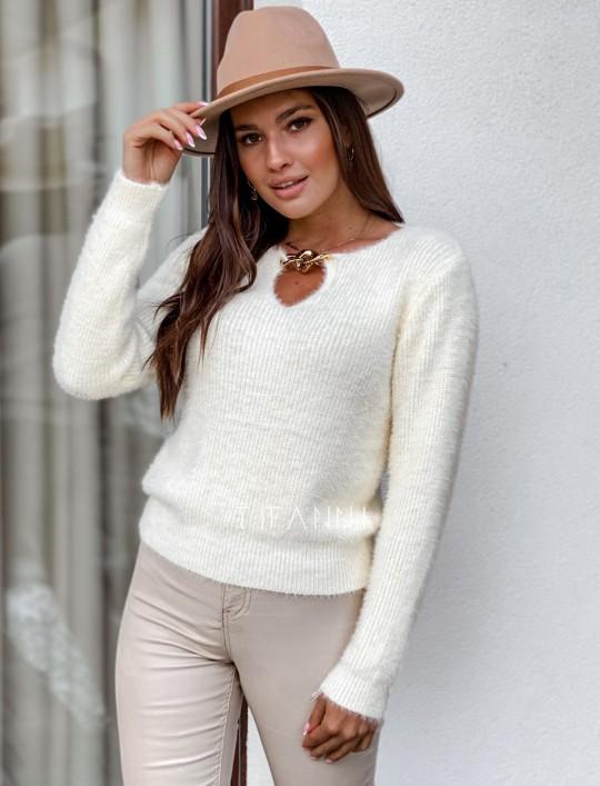 Sweter z ozdobnym łańcuszkiem Loretto śmietankowy