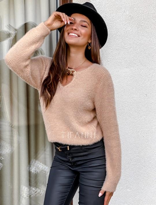 Sweter z ozdobnym łańcuszkiem Loretto beżowy