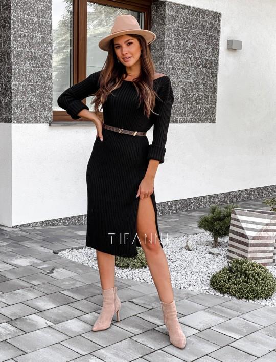 Sukienka swetrowa Flori łódka czarna