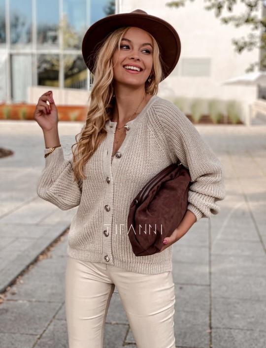 Sweter rozpinany Jessi beżowy
