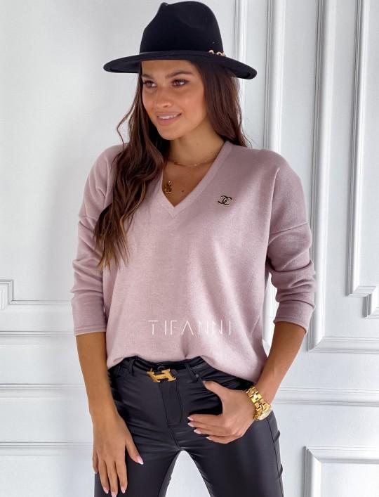 Sweter z dekoltem Pari pudrowy