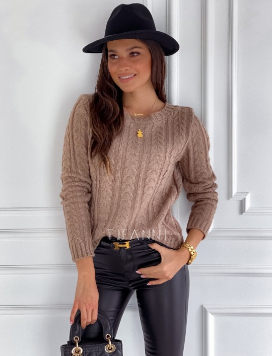Sweter z warkoczem Cristi nude