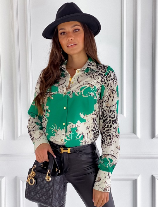 Koszula Cannes green print