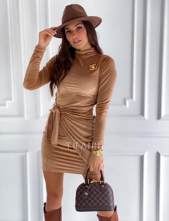 Sukienka welurowa wiązana Dali camel