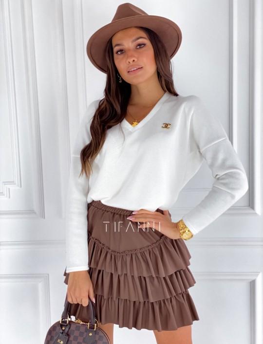Sweter z dekoltem Pari śmietankowy