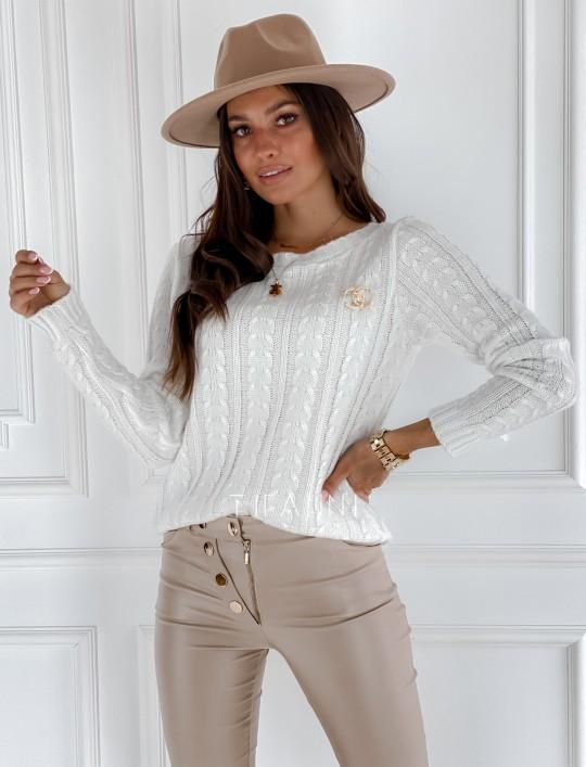 Sweter z warkoczem Cristi śmietankowy