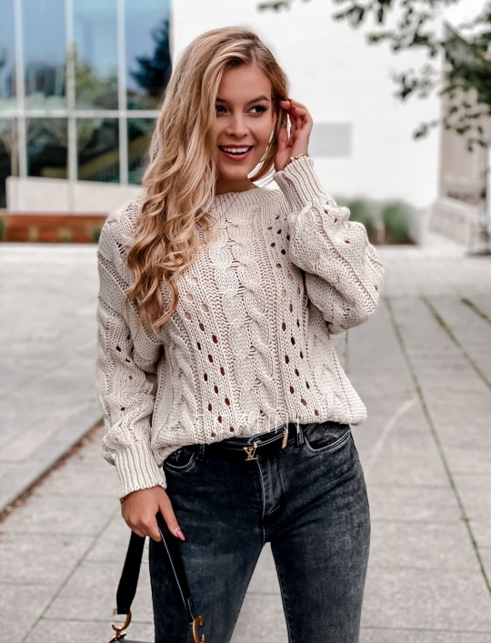 Sweter Simply beżowy