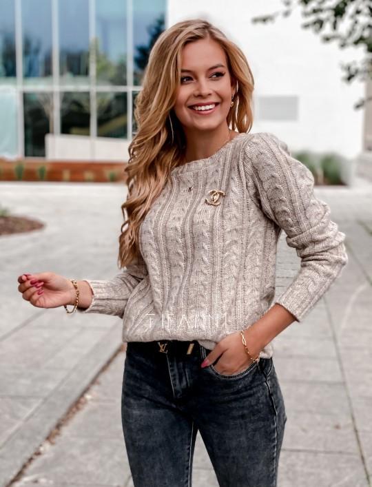 Sweter z warkoczem Cristi beżowy