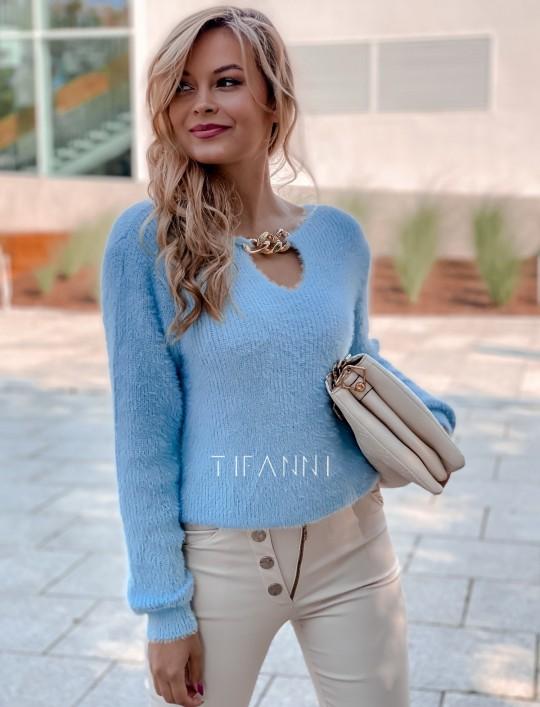 Sweter z ozdobnym łańcuszkiem Loretto blue